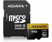 A-DATA                         UHS-II U3 MicroSDXC 64GB class 10 + adapter AUSDX64GUII3CL10-CA1