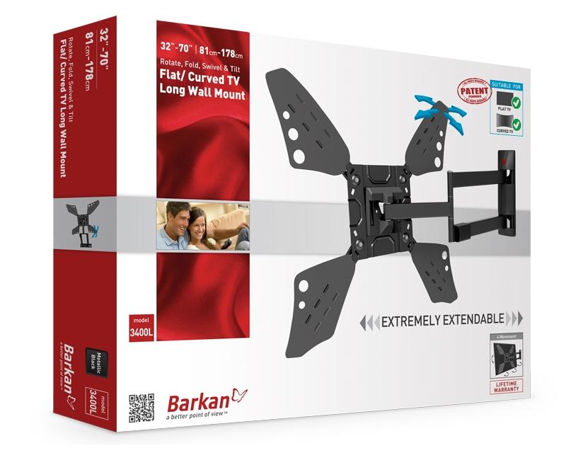 """BARKAN                         3400L.B LCD TV zidni nosač do 65"""" za ravne i zakrivljene televizore"""